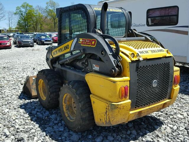 """2011 New Holland L220 skid steer loader with 72"""" bucket. Very good condition, no damage, 815 Hrs, like new tires, has remote hookups. Fully enclosed cab with heat, air conditioning and stereo. Selling for $30,000.00"""